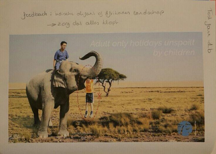 Test fase: Feedback: indische olifant op een afrikaanse achtergrond  Zorg ervoor dat elk detail klopt!
