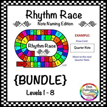 Music Centers: Rhythm Race Note Naming Edition {BUNDLE}. Awesome for practicing the name of music notes! Several levels!