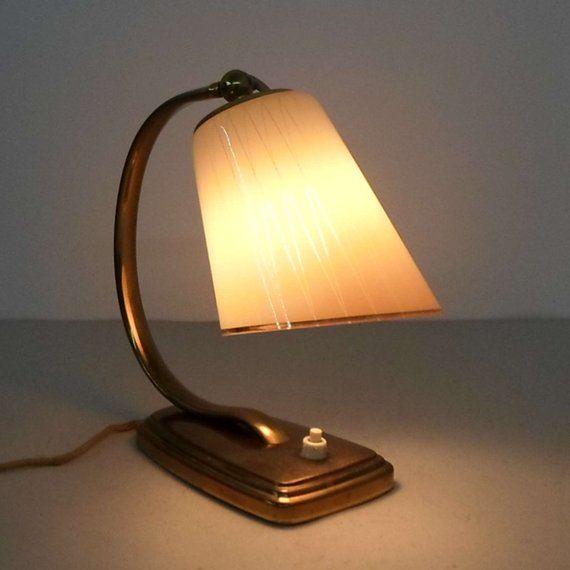 Vintage Nachttisch Lampe Design Aus Den 50er Jahren Messing Metall Montierung Mit Glasschirm Tischlampe Leselampe N Vintage Bedside Lamp Reading Lamp