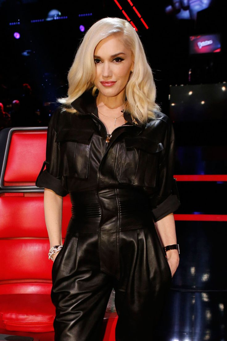 Gwen Stefani in a demure Leather Jumpsuit
