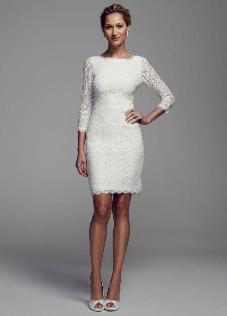 Short long sleeve lace dress david 39 s bridal wedding for Dresses for wedding rehearsal dinner