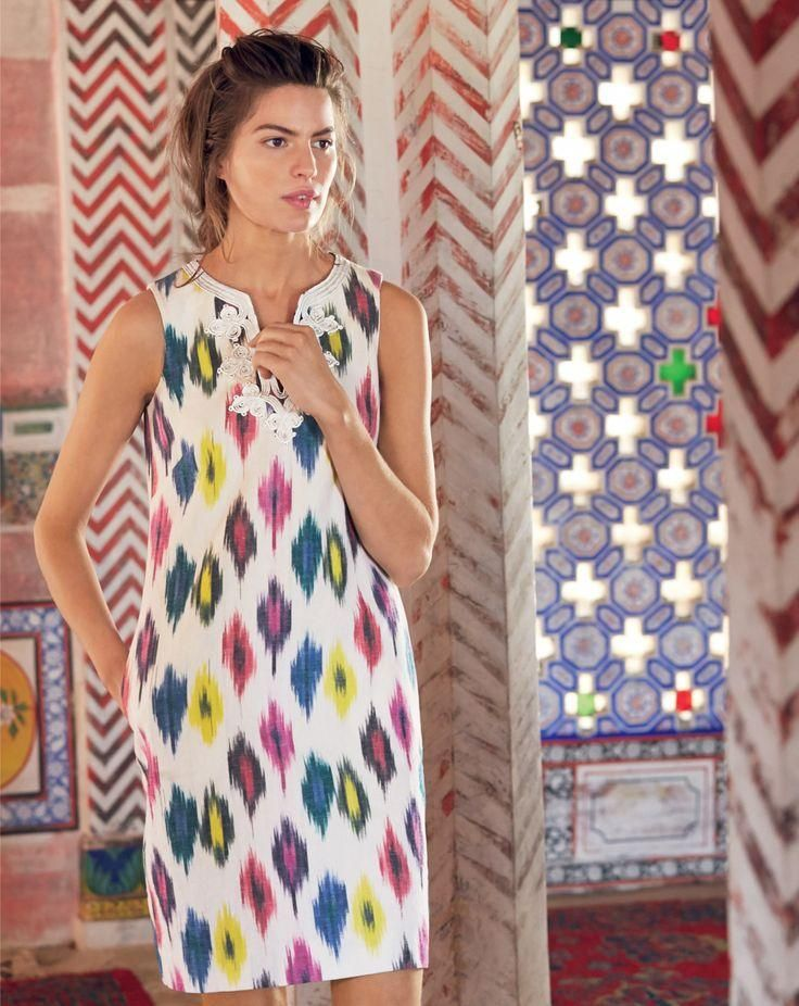 J.Crew women's dress in watercolor ikat. To preorder call 800 261 7422 or email erica@jcrew.com.