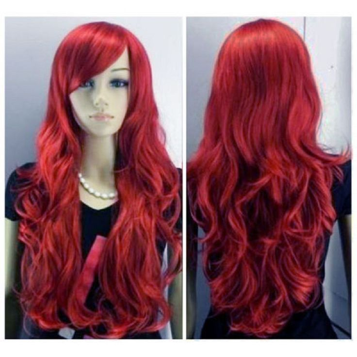 New Women s Sexy Long Wine Red Curly Wig Fancy Dress Wigs Cosplay Party UK
