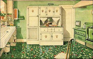 Verna's kitchen--love that linoleum floor. via Life of a Jersey Girl blog,