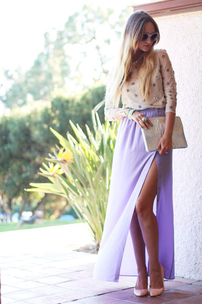 maxi skirt, pastelsSkirts Sequins, Lavender Skirts, Fashion Blogs, Purple Maxis Skirts, Pretty Pastel, Summer Colours, Diy, Sequins Blouses, Maxi Skirts