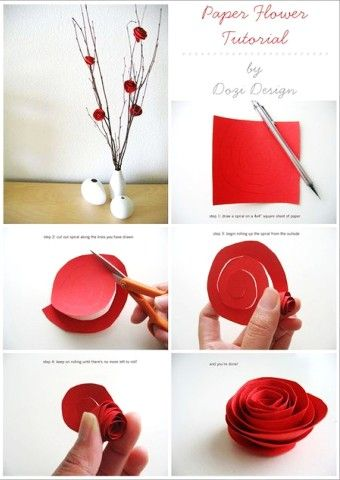 Pretty diy paper red roses flowers tutorial for vase - paper roses crafts, table decoration - LoveItSoMuch.com