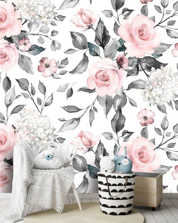 Removable Peel N Stick Wallpaper Self Adhesive Wall Etsy Peel N Stick Wallpaper Floral Wallpaper Nursery Nursery Accent Wall