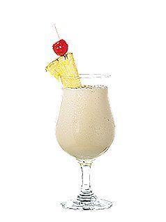 Piña colada PRÉPARATION  Dans un mélangeur électrique, déposer les glaçons, le rhum blanc, le rhum brun, la crème de noix de coco ou le lait de noix de coco sucré et le jus d'ananas. Mélanger les ingrédients jusqu'à l'obtention d'une consistance onctueuse (maximum 10 secondes). Verser dans un verre tulipe. Garnir d'un morceau d'ananas et d'une cerise au marasquin.