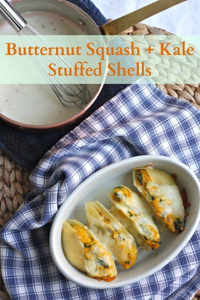 Butternut Squash and Kale Stuffed Shells | TheCornerKichenBlog.com