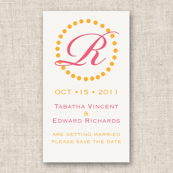 Circle Initial Save the Date Wedding Magnet (available in other colors) | #exclusivelyweddings | #pinkwedding