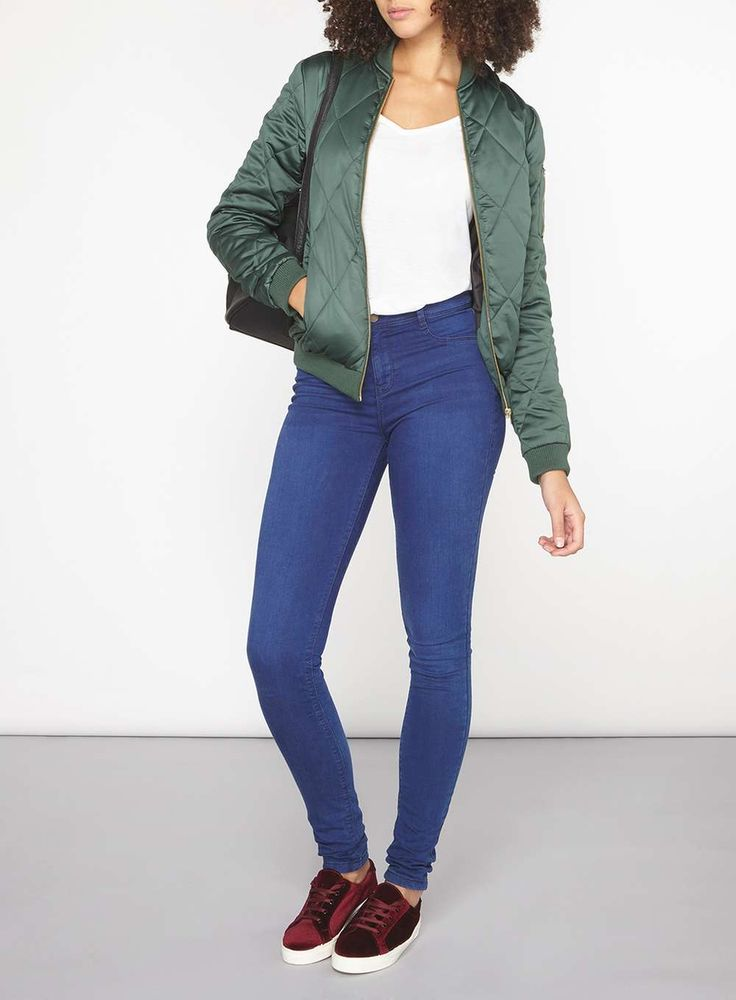 Womens **Tall Diamond Quilted Bomber Jacket- Green