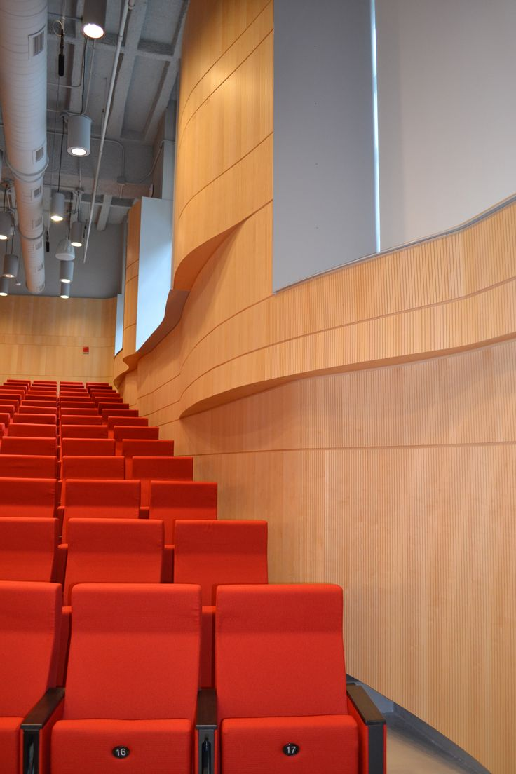 """""""Panels were formed to shapes in the field so that the different layers of the floor plan could have different footprints. Tongue and groove vertical joint to make the panels appear continuous.""""-Sarah Brown, CEO of Topakustik USA. Project at University of Illinois Chicago, School of Medicine Auditorium. Contractor: Joseph Construction #topakustikusa #sounddesign #acoustics #groovedpanels #wood #chicago"""