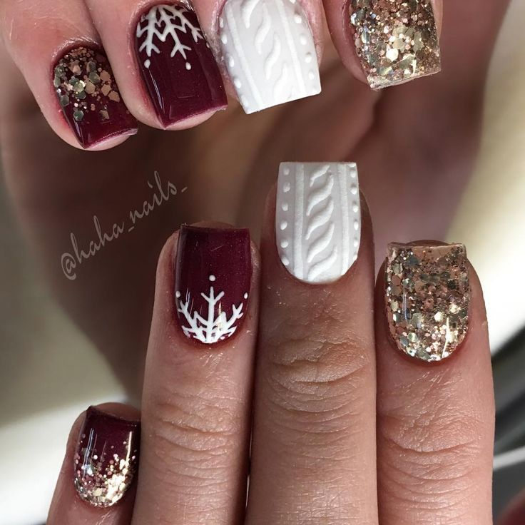 """661 Me gusta, 5 comentarios - Hailey Ann Craner (@haha_nails_) en Instagram: """"Maroon acrylic is """"Betty"""" from @glamandglitsnails ❤️ white is from @youngnailsinc ❄️ rose gold…"""""""
