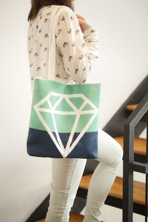 DIY Painted Diamond Tote Bag
