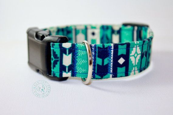 Tribal dog collar / blue dog collar / aztec / southwestern / teal dog collar / turquoise / pet accessories / boy dog collar / girl dog collar / designer dog collar / adjustable ►►► Personalize Your Collar https://www.etsy.com/listing/490302489/personalizd-dog-collar-embroidered-dog?ref=shop_home_active_4  ►►► ADD A Matching Bow Tie https://www.etsy.com/listing/487841829/custom-dog-bow-bowt...