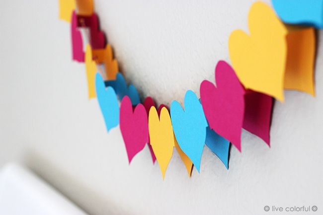 DIY: Make a 3D  Heart Garland. Happy  Valentine's Day! | Live Colorful