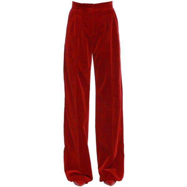 Max Mara Women Velvet Palazzo Pants W/ Pleats (€525) ❤ liked on Polyvore featuring pants, red, high waisted pleated pants, high waisted palazzo pants, high-waisted palazzo pants, velvet pants and pleated pants