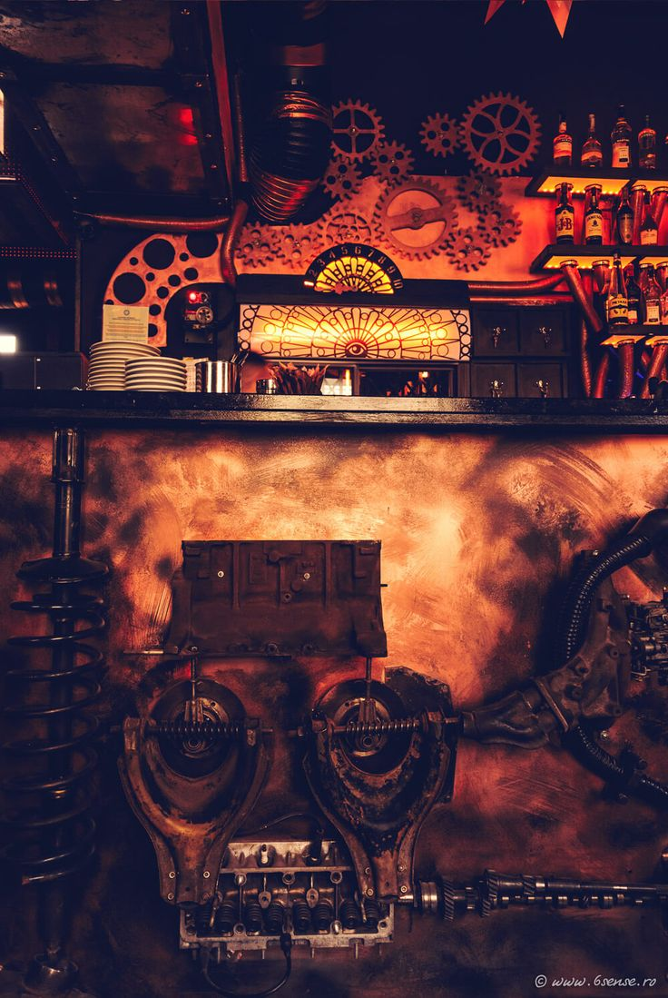 Enigma Steampunk Cafe in Romania Unleashes Kinetic Energy - http://freshome.com/steampunk-cafe-romania/