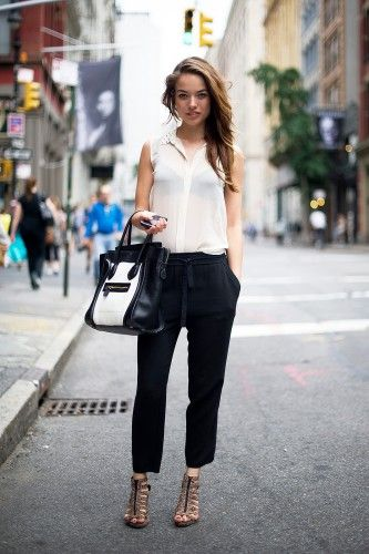 OMG this chick is gorgeous & I loooove her black & white outfit!!  Seriously Chic  #Refinery29