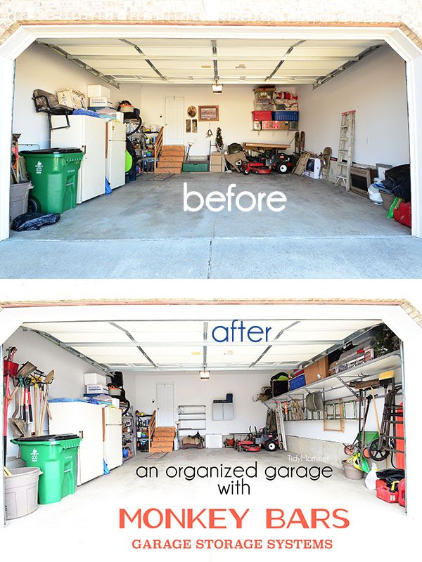 An organized garage before and after - using the Monkey Bars Garage Storage Systems at TidyMom.net