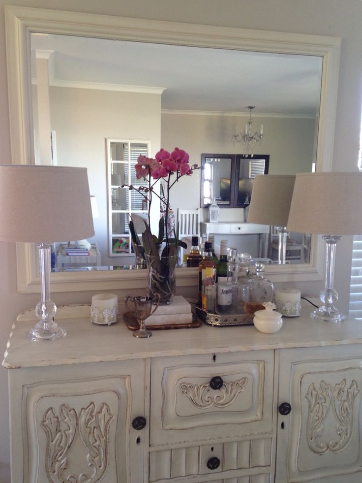White sideboard dining room orchard