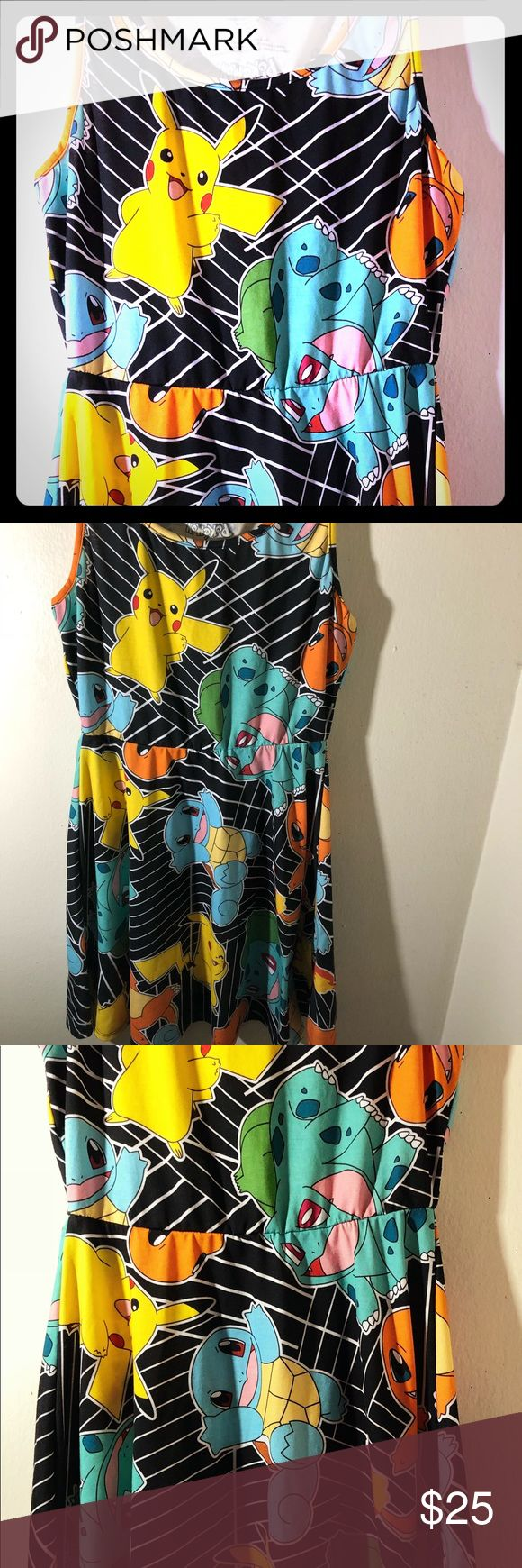 Pokemon Starters Dress Like new condition. Never worn, missing original tags. Size small. No signs of wear and tear or damage. Covered in cute classic Pokémon (pikachu, squirtle, charmander, and bulbasaur. Pokemon Dresses