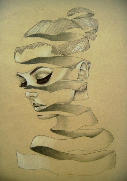 """Ribbon Portrait."" Pencil on brown paper. 2015. Grade 10, female. Caddo Parish Talented Arts Program; Shreveport, LA.  The negative space in this piece creates an added meaning to the expression on the subject's face.  It contributes to a sense of emptiness or that something is missing.  The artist exhibits an excellent handling of the simple, yet well-developed media, demonstrating a range of values.  The artist's morphing of portrait and ribbon makes for an even more 3-dimensional effect."