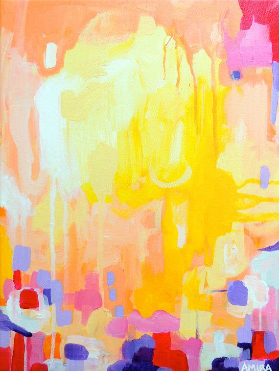 Colorful Abstract Expressionist Painting on 12x16 by AmiraRahim
