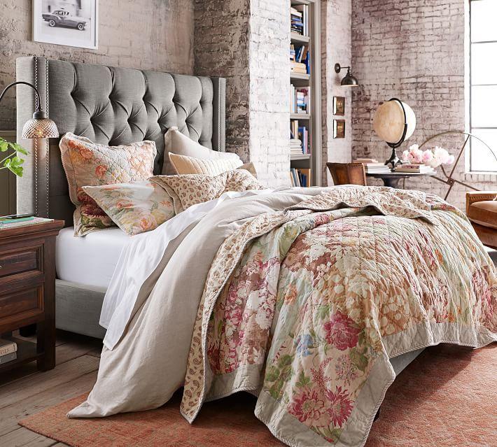 Carolina Floral Patchwork Reversible Cotton Quilt & Sham