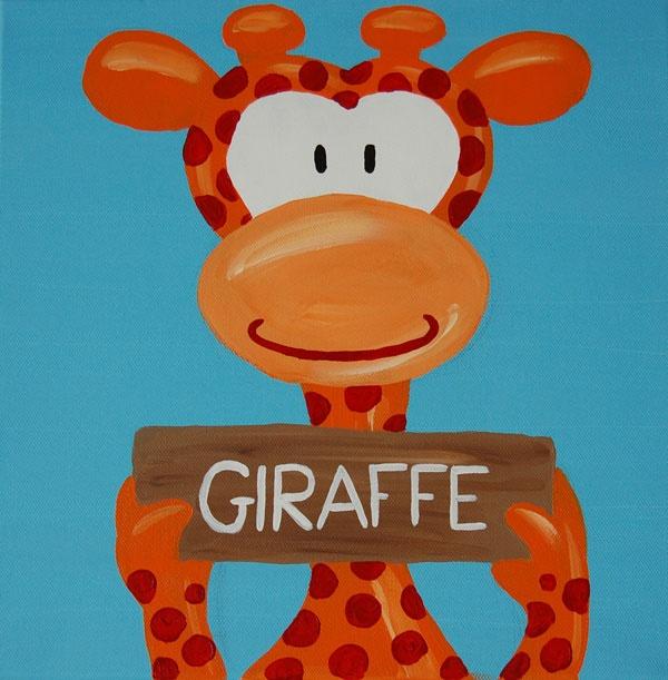 Beestenboel schilderij: Giraffe. Bestaat uit een serie van negen schilderijen 30cm bij 30cm. Stephanie Fiseler | Unieke, vrolijke, kleurrijke schilderijen voor baby- & kinderkamers