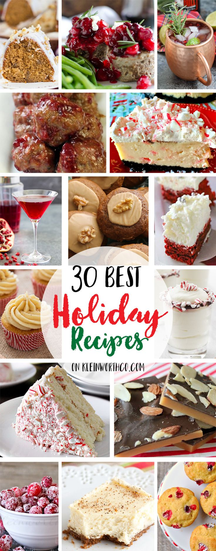 These 30 Best Holiday Recipes for gift giving, holiday parties & family gatherings will have everyone full of smiles. Christmas recipes via @KleinworthCo