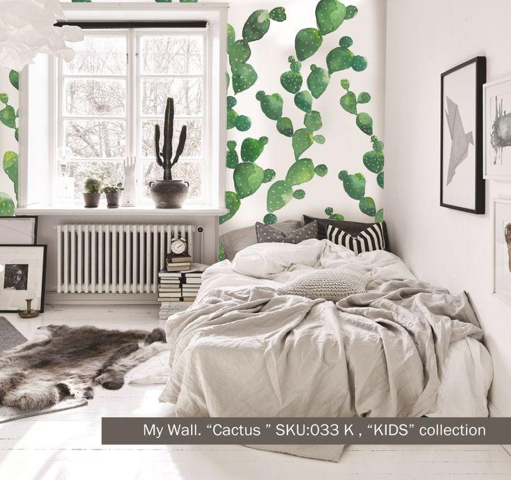 """наши обои """"Cactus"""" sku 033k. Веселые акварельные кактусы отлично впишутся как в #детскуюкомнату, так и в строгий #скандинавскийинтерьер. Не бойтесь смелых решений-зачастую они самые правильные!"""