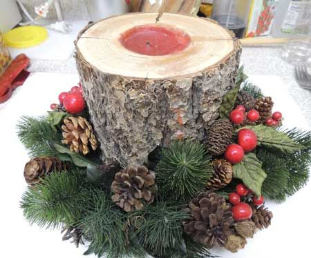 Holiday candle log tm natural christmas no l au for Log craft ideas