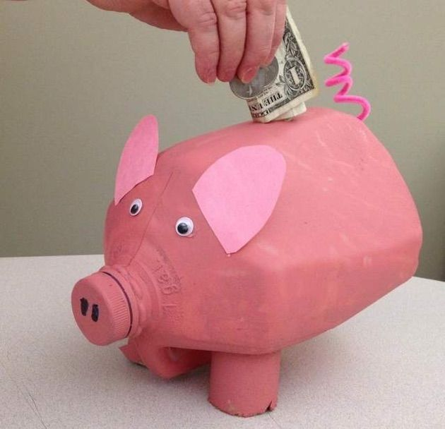 27 best recycled milk jugs images on pinterest milk jugs for Plastic bottle piggy bank craft