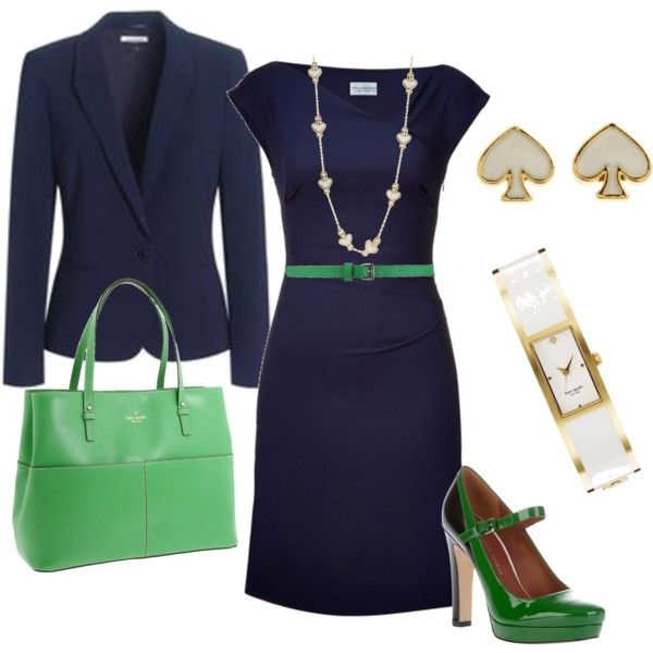 Stylish use of navy & green minus the jewelry