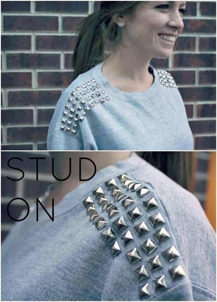 Studded sweatshirt DIY. Super cute and easy. Full directions on u-la-la.com