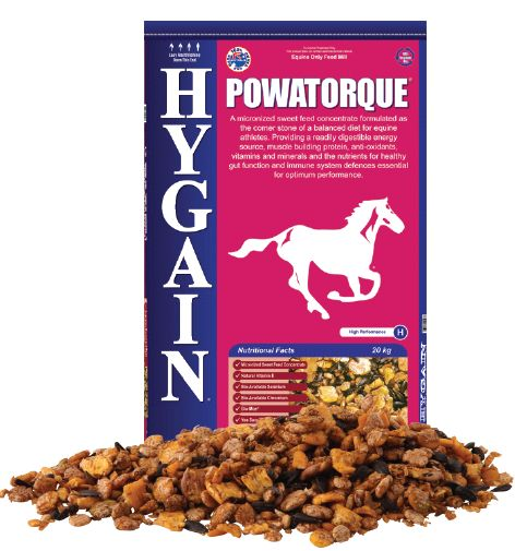 HYGAIN® POWATORQUE® is a micronized sweet feed concentrate formulated as the corner stone of a balanced diet for equine athletes. Providing a readily digestible energy source, muscle building protein, anti-oxidants, vitamins, minerals and the nutrients for healthy gut function and immune system defences essential for optimum performance.