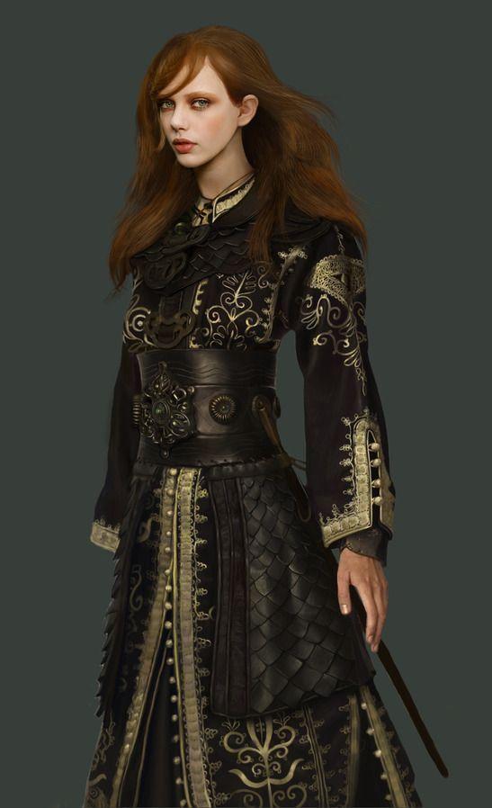 Oriëntaals gestileerde jurk met een eenvoudig idee voor leder pantser.