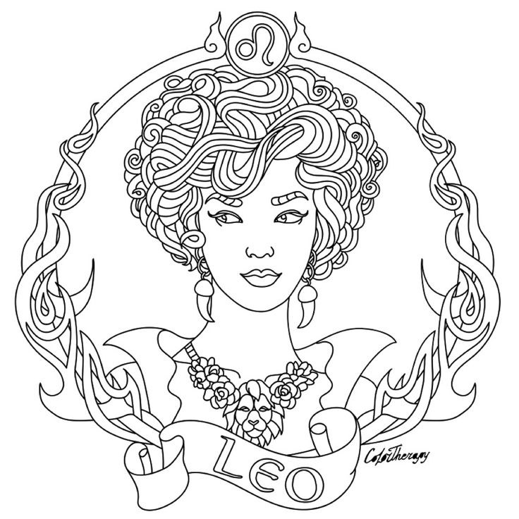 Leo zodiac pages for adults coloring pages for Leo coloring pages