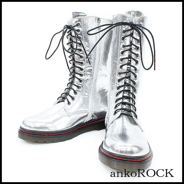 Rakuten ankoROCK metallic 14 Hall Tower Boots / Men Women Silver flashy boots long boots unique 14-hole boots leather boots lace up boots side zip boots Rock fashion Anko lock Harajuku fashion brand personality: ankoROCK
