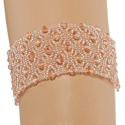 Handmade Bright Coral Glittering Beaded Macrame Bracelet