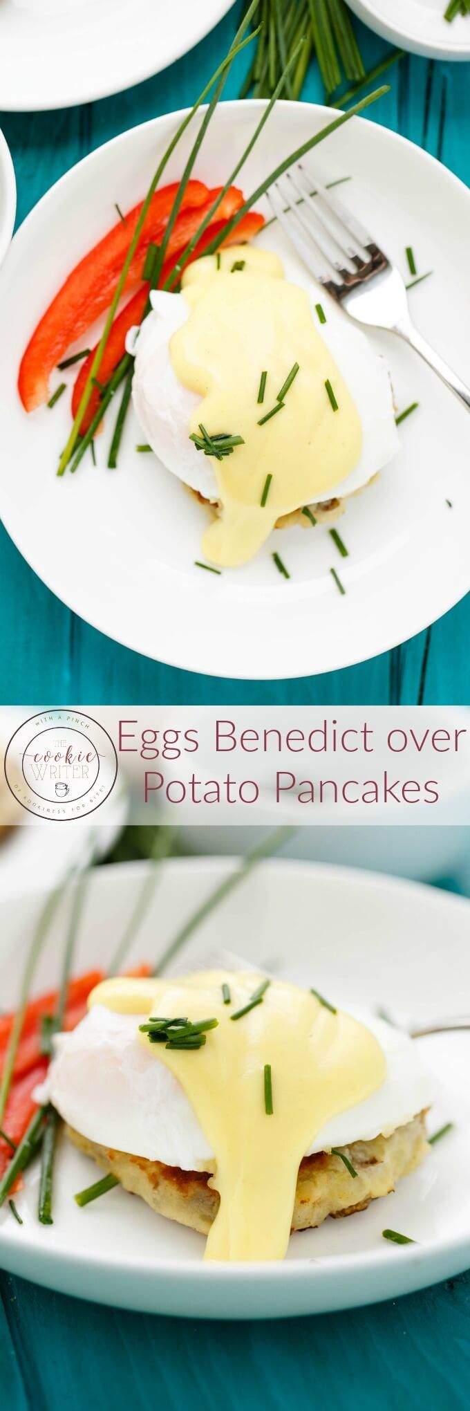 Eggs Benedict over Potato Patties | http://thecookiewriter.com | @thecookiewriter | #breakfast (ad)