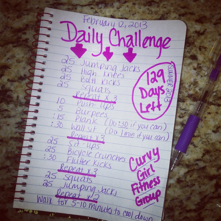 129 days until summer. Workout challenge.   Curvy Girl Fitness Group on Facebook