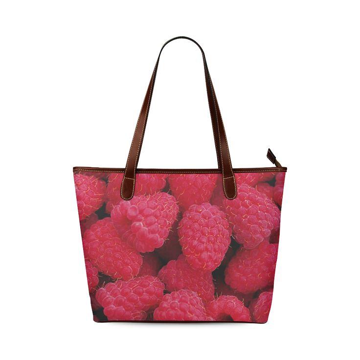 Raspberries Shoulder Tote Bag. FREE Shipping. #artsadd #bags #fruits