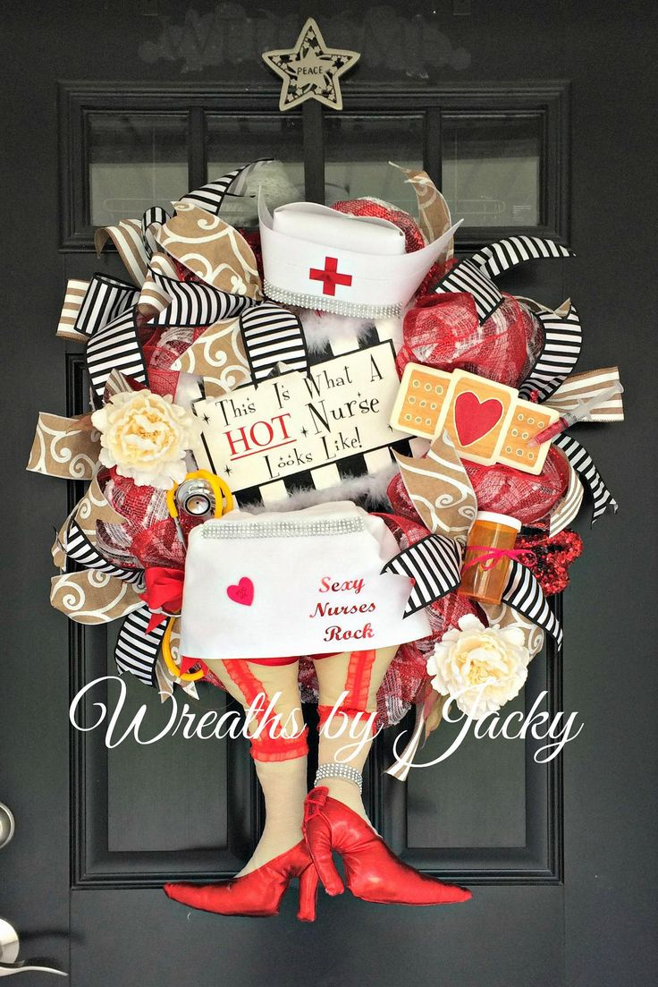 Nurse Wreath Hospital Door Hanger Nurse Gift Nurse Wall Art Hot Nurse Mother's Day Gift Nurses Week Gifts Red White Wreath Stethoscope by WreathsbyJacky on Etsy