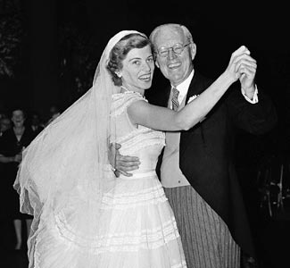 Eunice Kennedy dancing with her father, Joe Kennedy Sr on her wedding to Sargent Shriver, May 23, 1953.