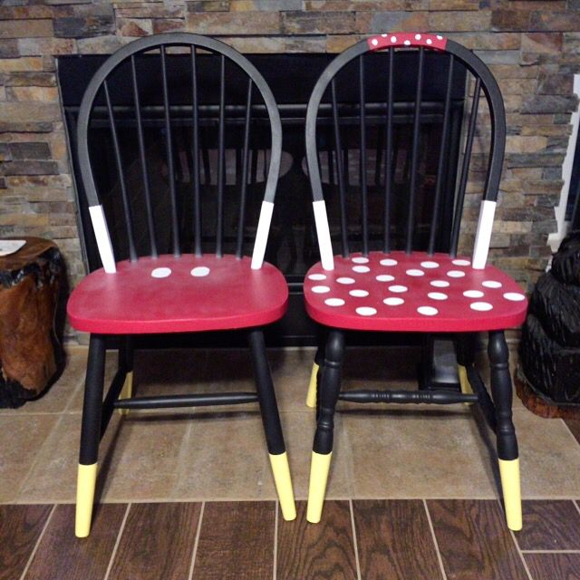 Created a pair of Mickey Mouse and Minnie Mouse time out chairs for my grandkids. I don't recommend the spray can clear coat- it left a hazy film even though it said it wouldn't. At least the paint job will be mostly protected. I have a feeling the kids will be using these a lot!