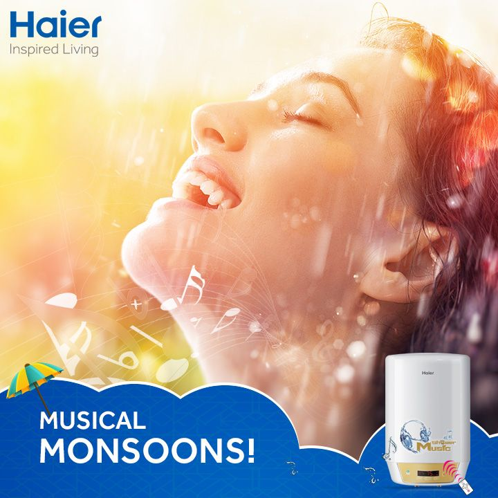 Enjoy your favorite tracks this monsoon with #Haier's #musical #WaterHeater: Aquatunes.