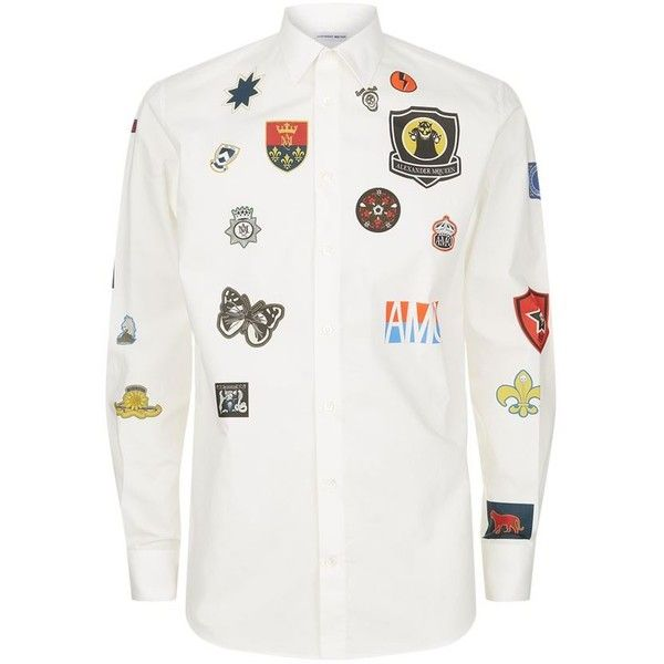 Alexander McQueen Badge Printed Shirt ($610) ❤ liked on Polyvore featuring men's fashion, men's clothing, men's shirts, men's casual shirts, mens long sleeve shirts, mens tailored shirts, mens longsleeve shirts, mens leather shirt and mens long sleeve casual shirts