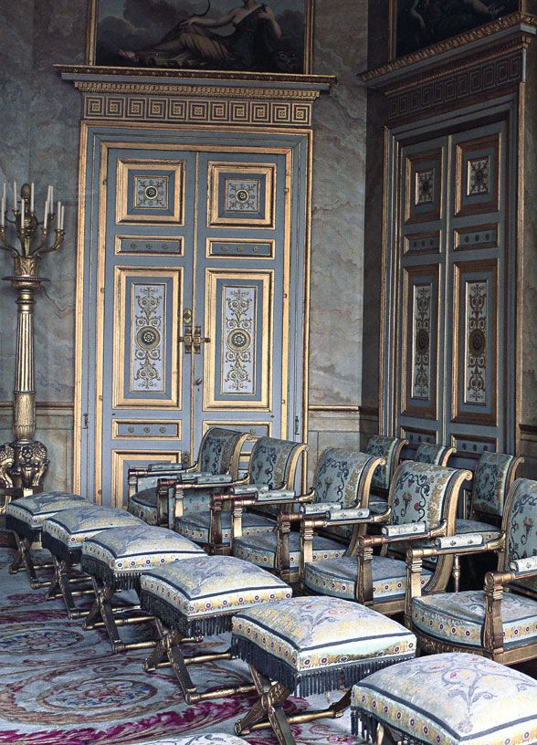 Château de compiègne the position and model of chair signified the rank of the guest